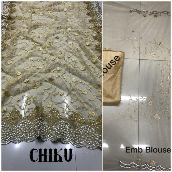 Chiku DF 3017 D Net Saree with Heavy Embroidery
