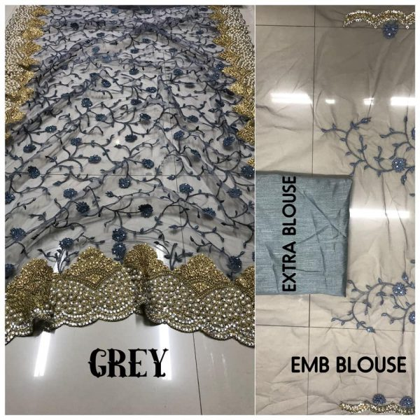 Grey DF 3017 D Net Saree with Heavy Embroidery