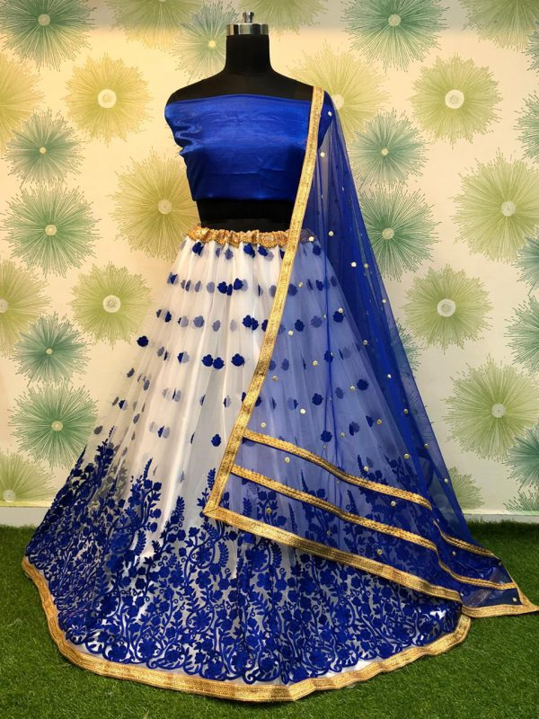 New RC 182 Royal Blue Net Lehenga