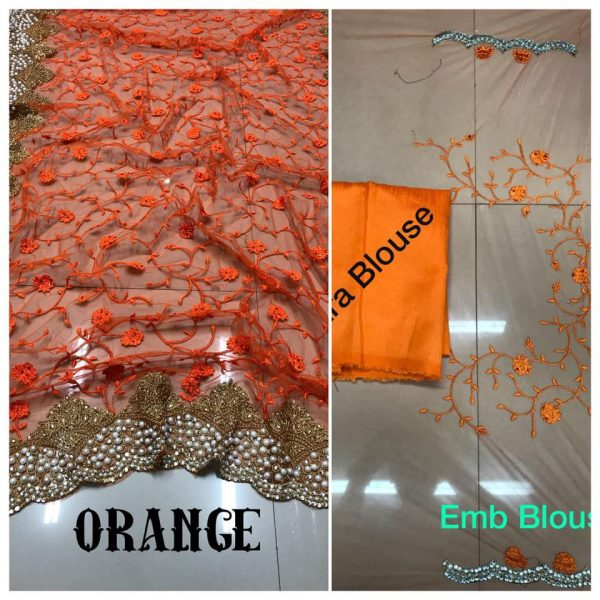 Orange DF 3017 D Net Saree with Heavy Embroidery