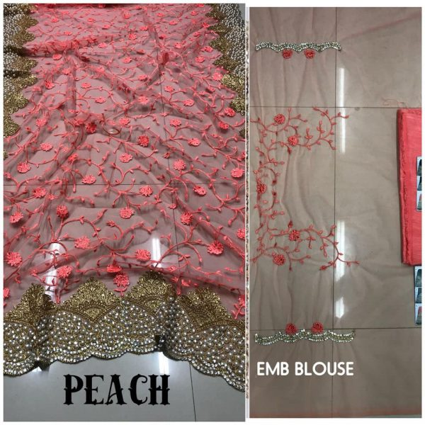 Peach DF 3017 D Net Saree with Heavy Embroidery