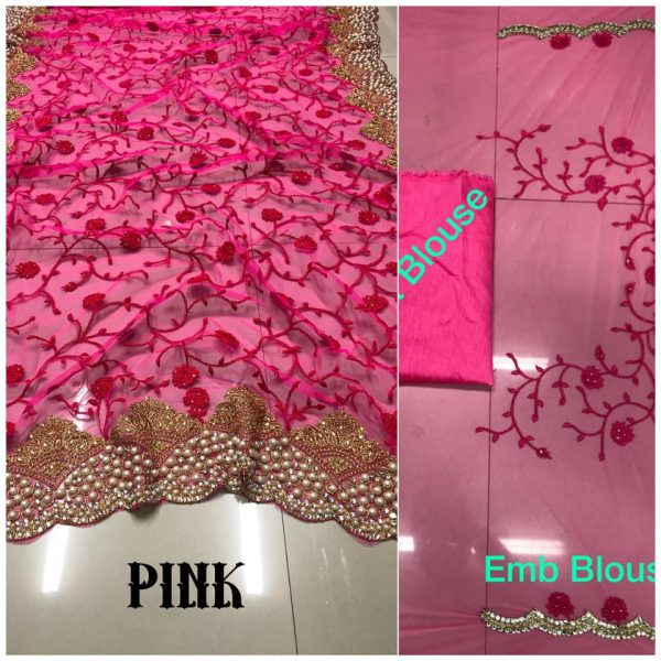 Pink DF 3017 D Net Saree with Heavy Embroidery
