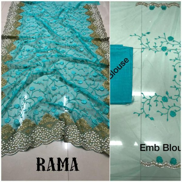 Rama DF 3017 D Net Saree with Heavy Embroidery