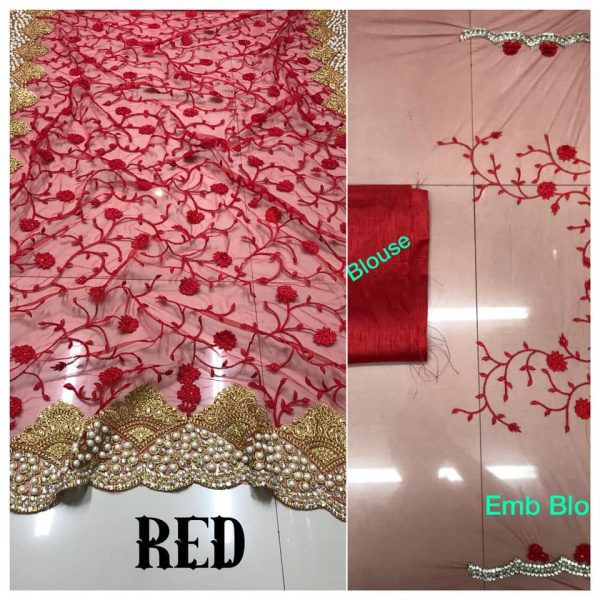 Red DF 3017 D Net Saree with Heavy Embroidery