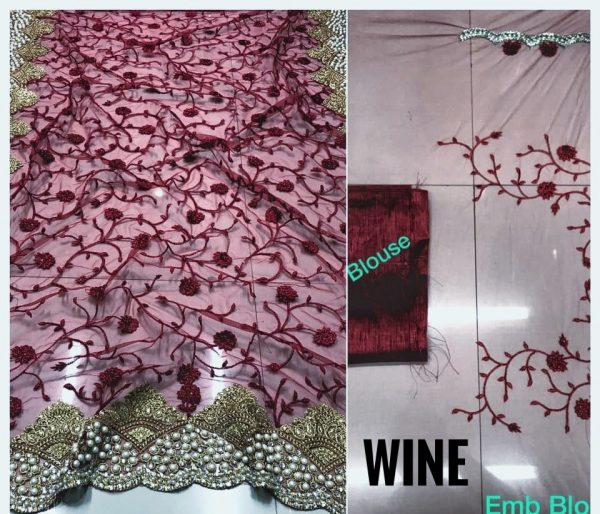 Wine DF 3017 D Net Saree with Heavy Embroidery